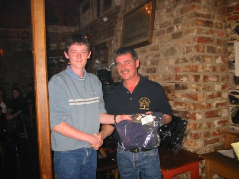 Martin Lacey Jnr Collects his prize from John Dunne