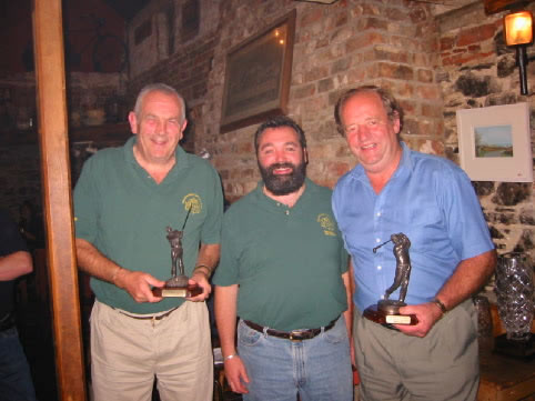 1st Schooner Matchplay Winner Victor Tomkins and R/Up Rob Millard with Jim Kehoe
