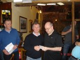 Dermot Pendergast collecting a prize on the night